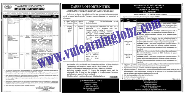 Latest Jobs 2021 In || Ministry Of Railways Jobs 2021|| For Project Director , Deputy Director CFO & MORE