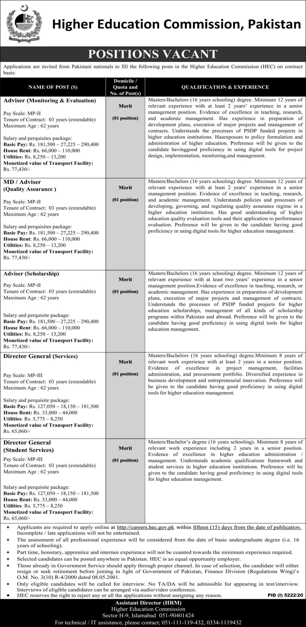 Higher Education Commission HEC Jobs 2021 for Monitoring & Evaluation Advisor, Director General & more