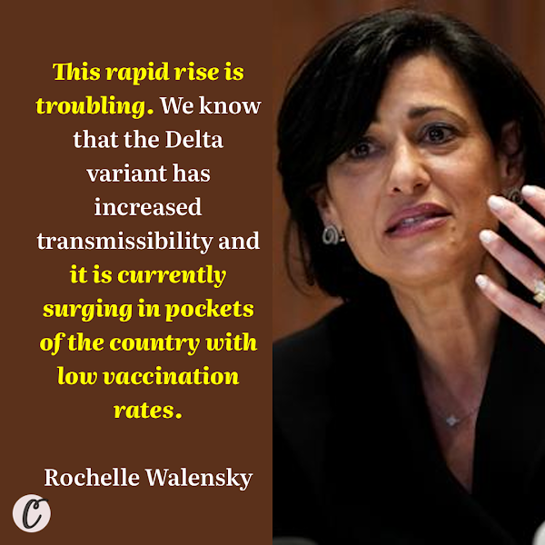 This rapid rise is troubling. We know that the Delta variant has increased transmissibility and it is currently surging in pockets of the country with low vaccination rates. — US Centers for Disease Control and Prevention Director Rochelle Walensky