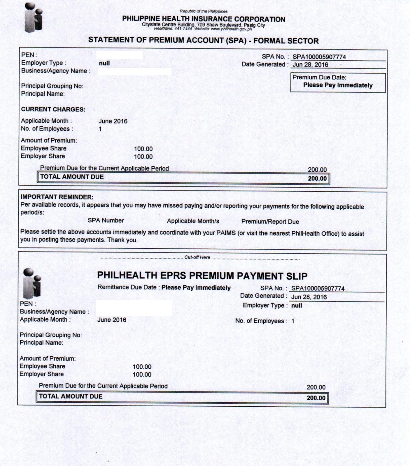 philhealth premium payment slip