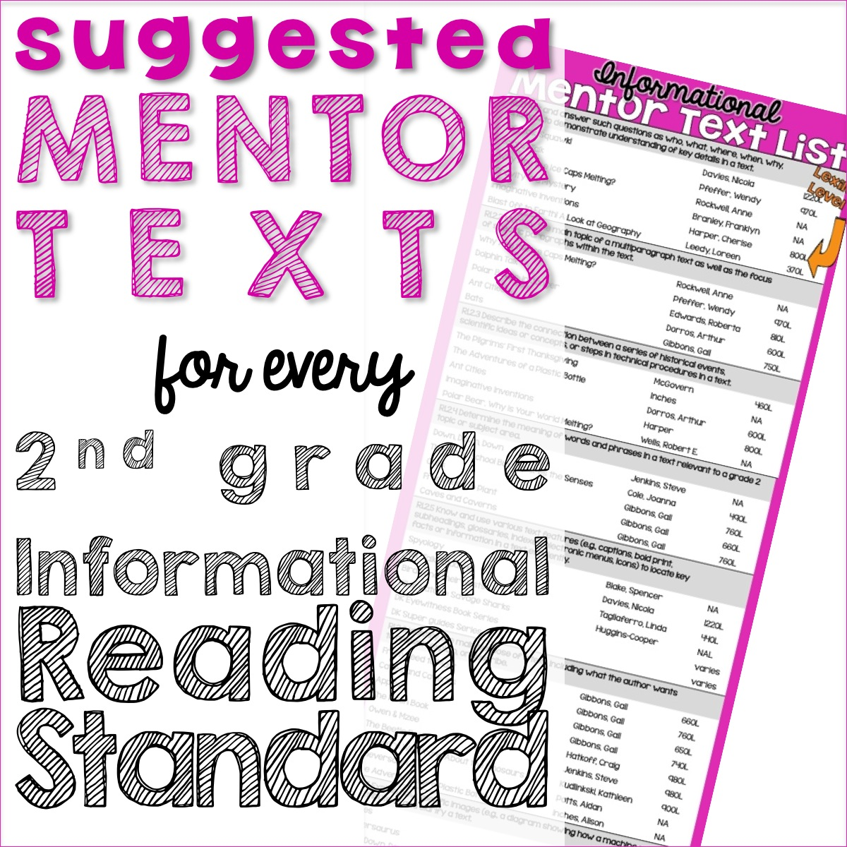Primary Chalkboard Informational Mentor Text List For