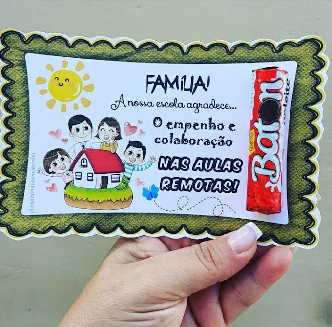 Cartão para os pais nas aulas remotas