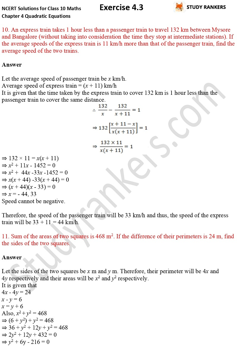NCERT Solutions for Class 10 Maths Chapter 4 Quadratic Equations Exercise 4.3 Part 7