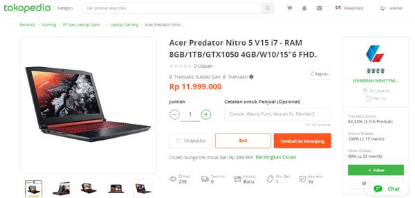 acer predator i7 paling murah di tokopedia