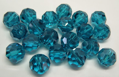 glass beads, crystal, teal