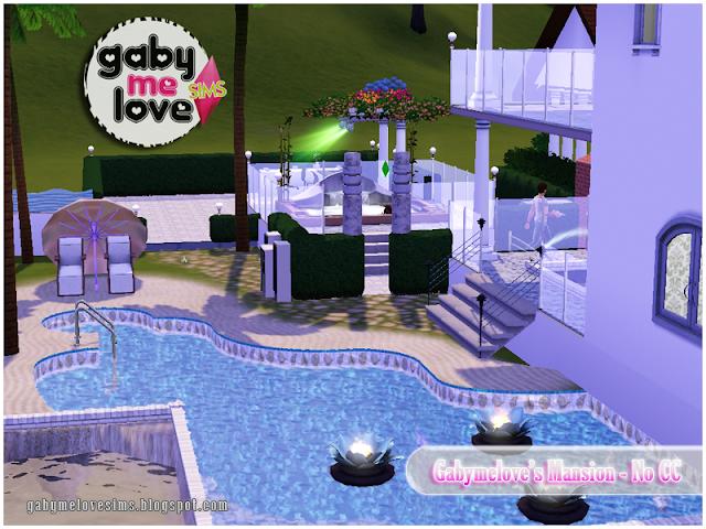 Gabymelove's Mansion |NO CC| ~ Lote Residencial, Sims 3. Piscina, vista aérea.
