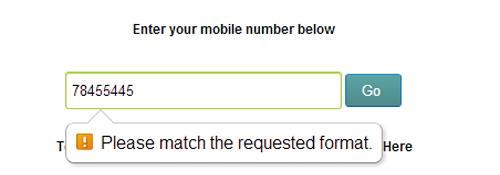 Html 5 Mobile number validation