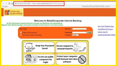 Syndicate balance check by internet banking