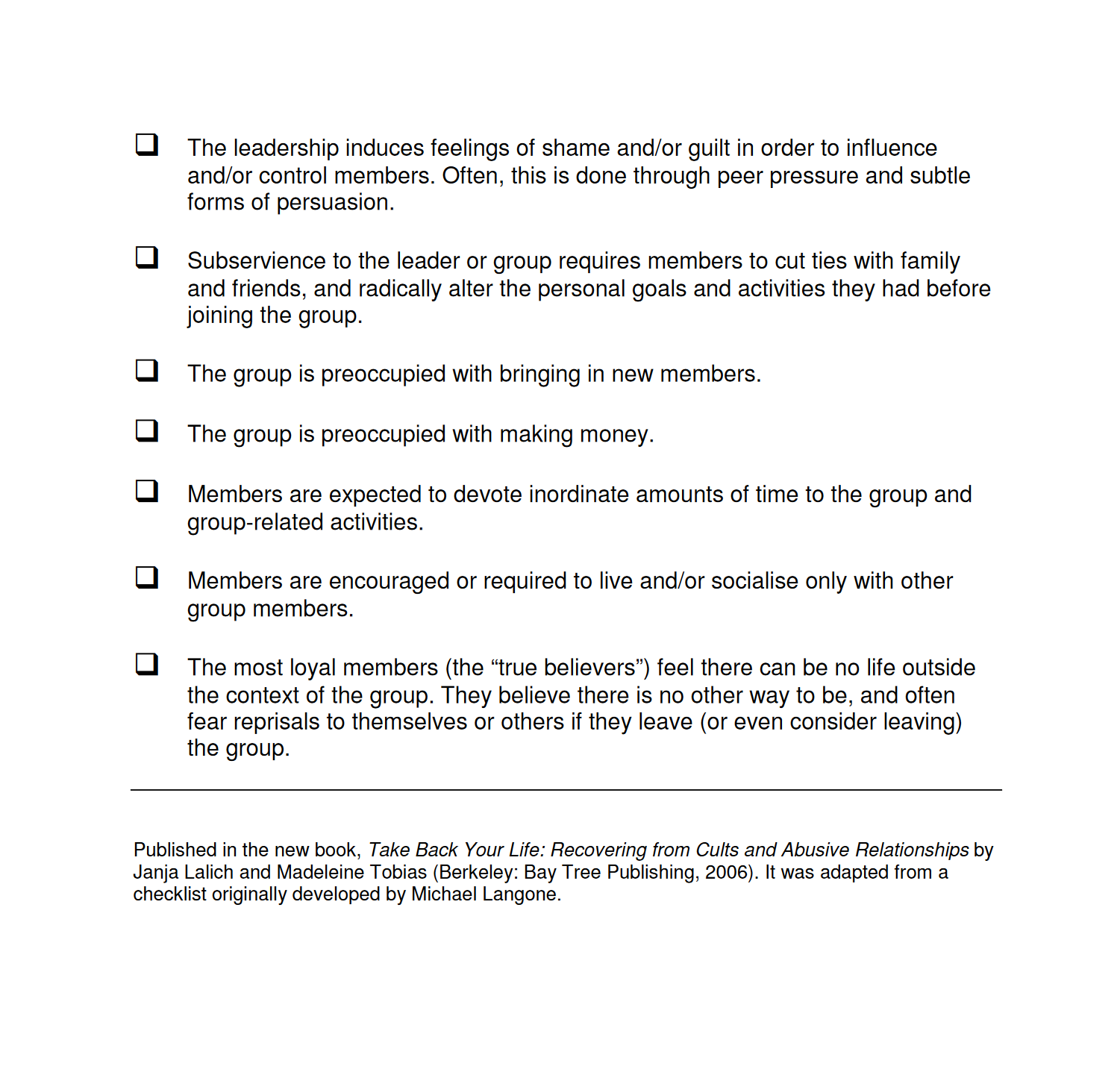 Characteristics Associated with Cultic Groups checklist - Page 2 - Lalich and Langone