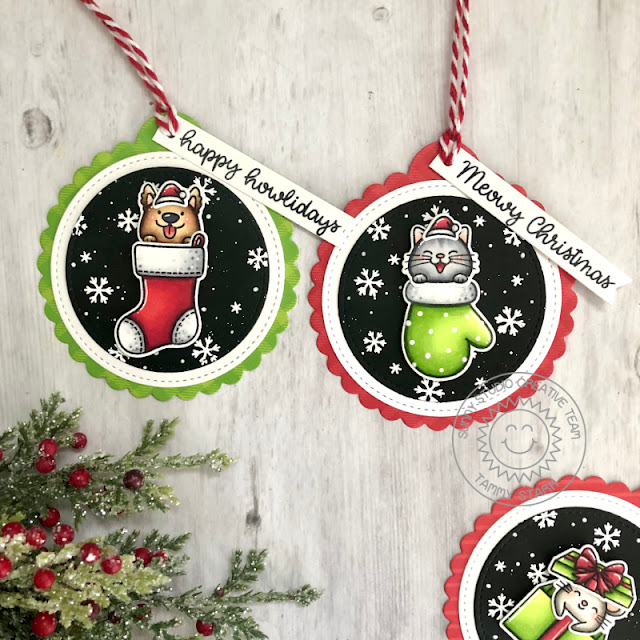 Sunny Studio Stamps: Christmas Critters Scalloped Tag Dies Critter Themed Christmas Tags by Tammy Stark