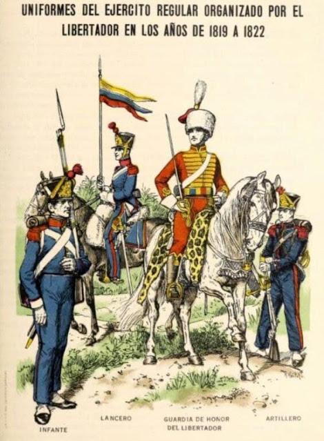 Algunos uniformes del Ejército Libertador en Carabobo