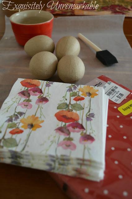 Spring napkins, foam paint brush and paper mache eggs