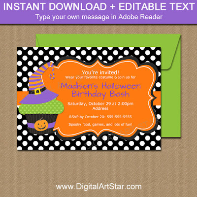 printable kids halloween witch birthday invitation