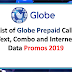 List of Globe Prepaid Call, Text, Combo and Data Promos 2020