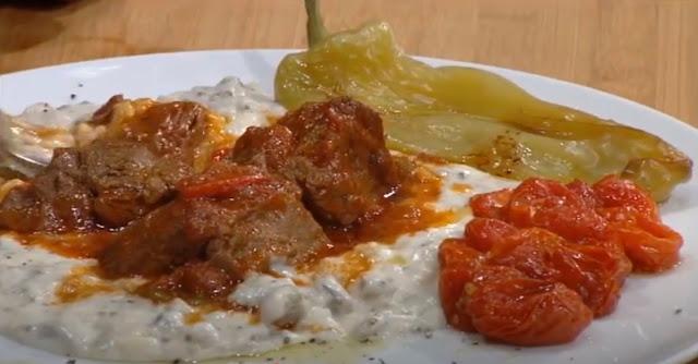 Τι τρώμε σήμερα: Μοσχαράκι κοκκινιστό με πουρέ από Τσακώνικες μελιτζάνες Λεωνιδίου (βίντεο)