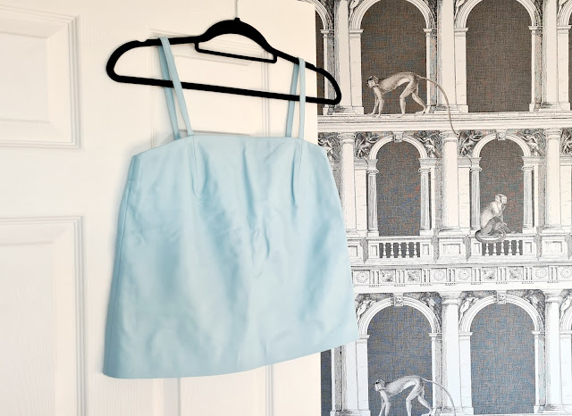Blue leather vest camisole Topshop