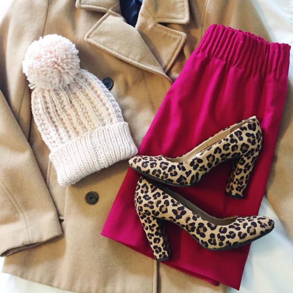 leopard heels, pea coat