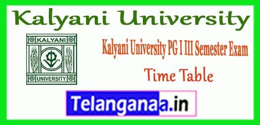 Kalyani University PG 1st 3rd MA M.Sc M.Com MBA MCA B.Ed Semester Time Table