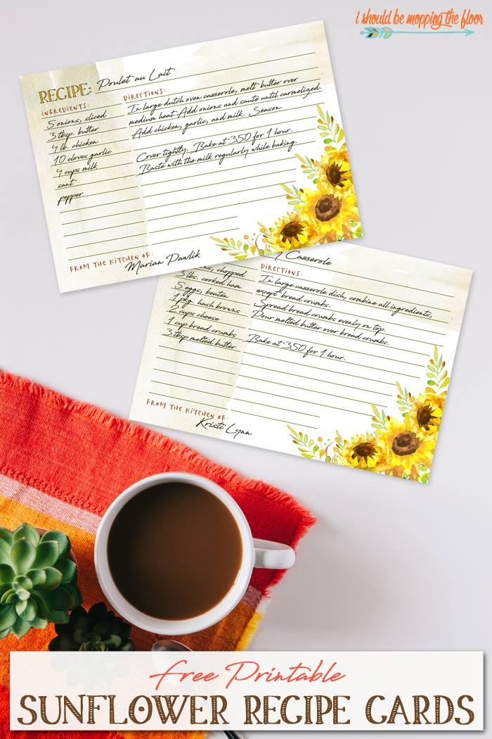 Sunflower Printable Recipe Cards