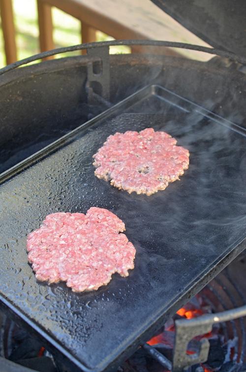 Cooking smash burgers on a Big Green Egg kamado grill