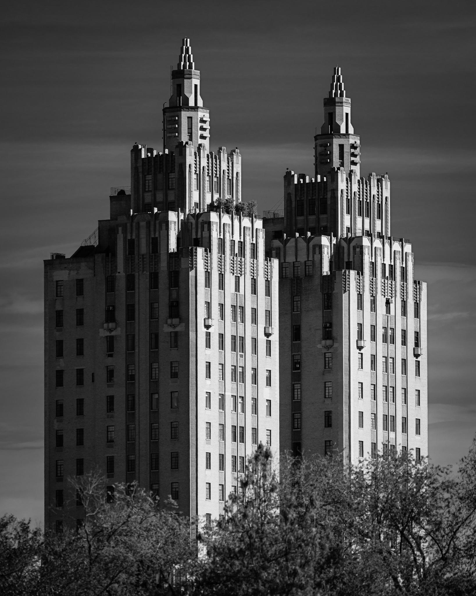 a black and white photograph of the eldorado apartment building central park west new york