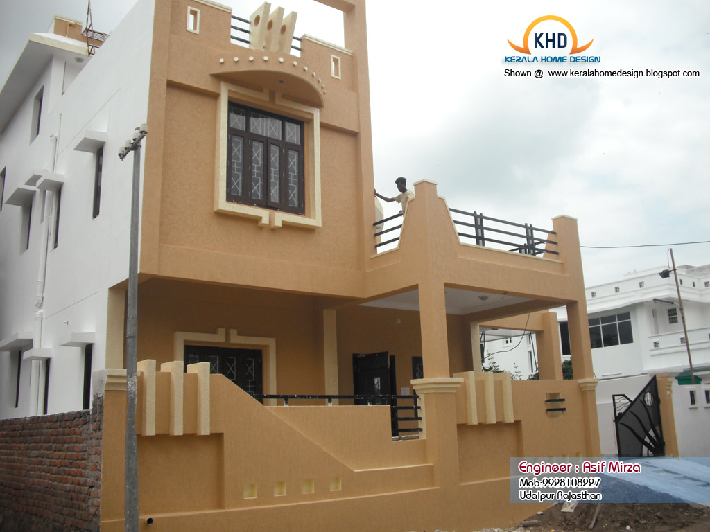 North indian home design elevation kerala home design for Indian house front elevation photos for single house
