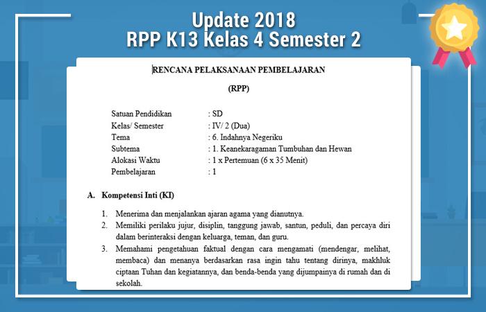 RPP K13 Kelas 4 Semester 2