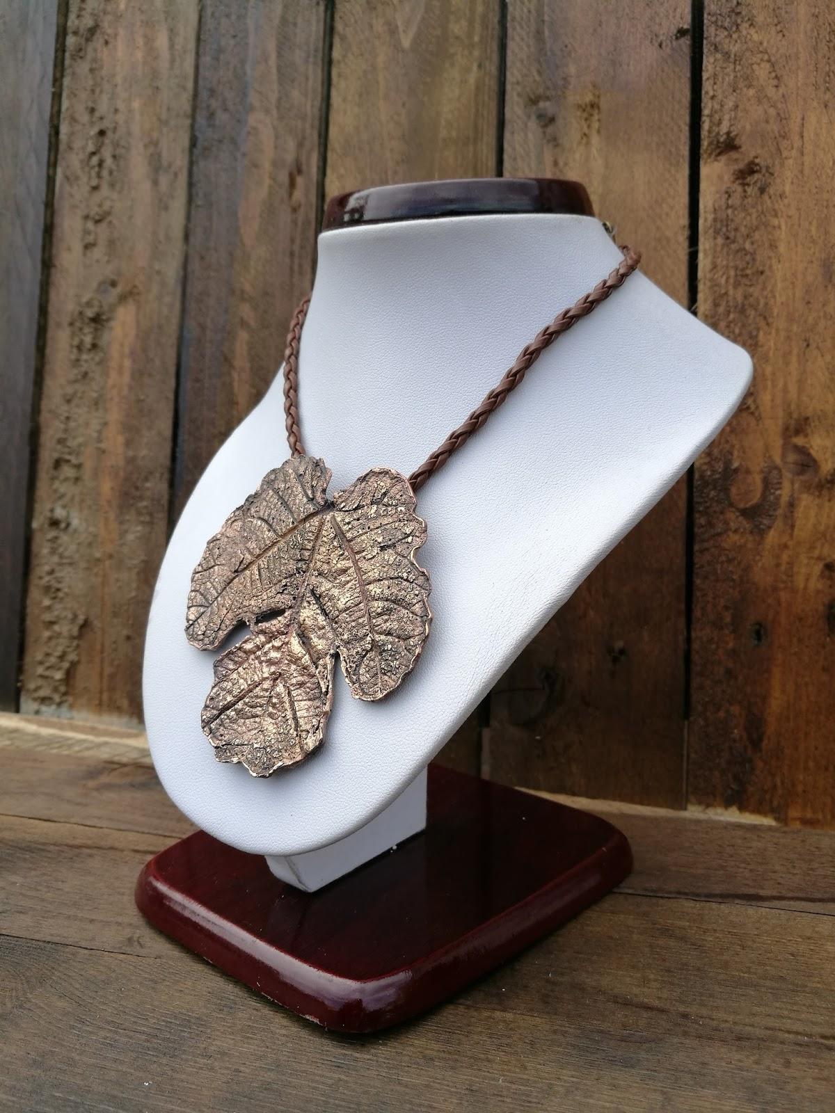 naszyjnik liść DIY art clay copper
