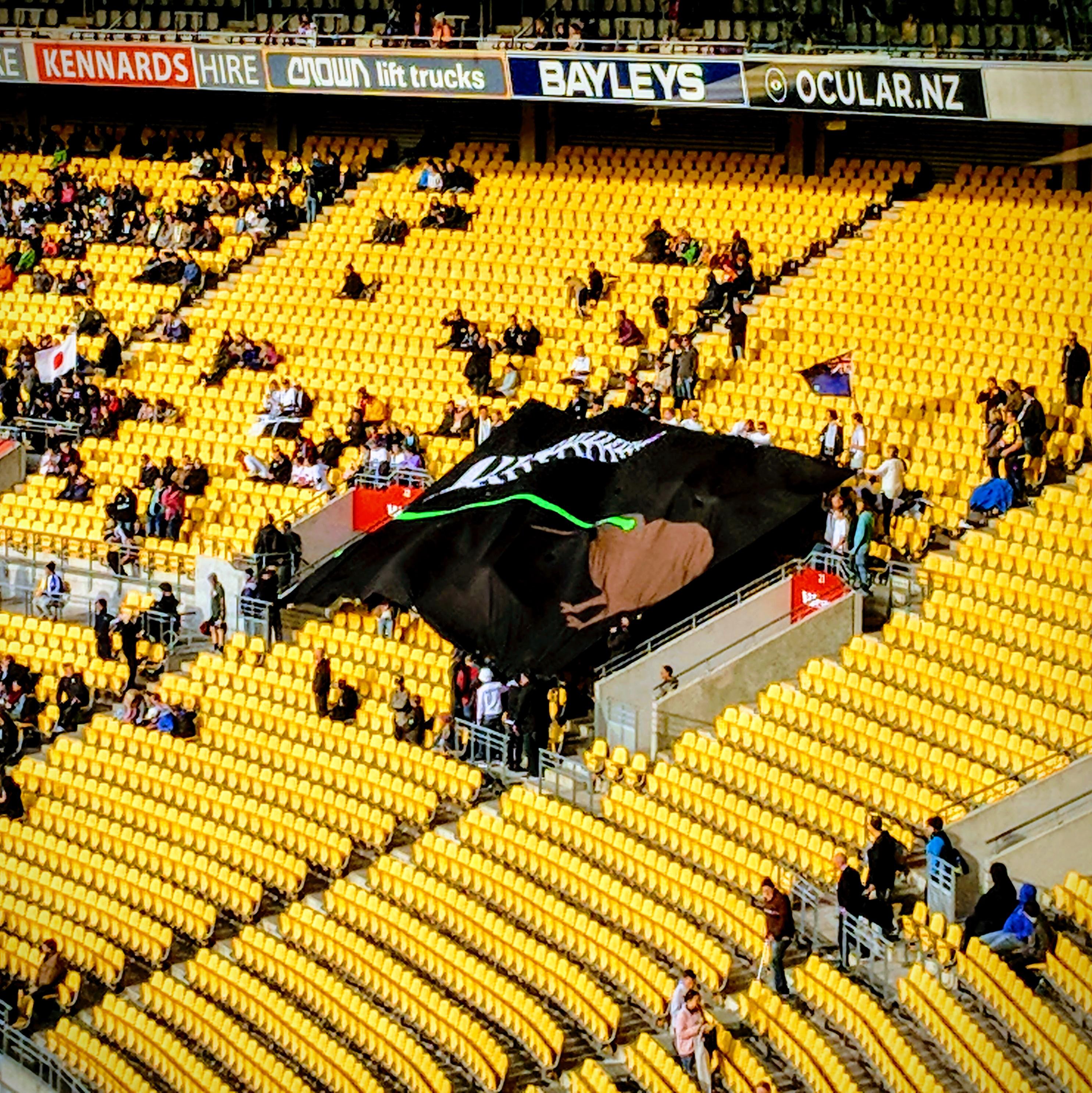 Proposed alternative New Zealand flag, the laser Kiwi, at the Wellington Regional Stadium