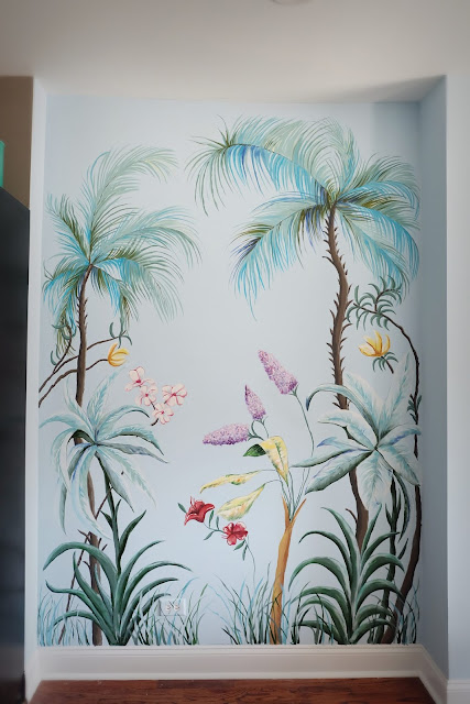 tropical wall mural hand painted leaves flowers bush plants