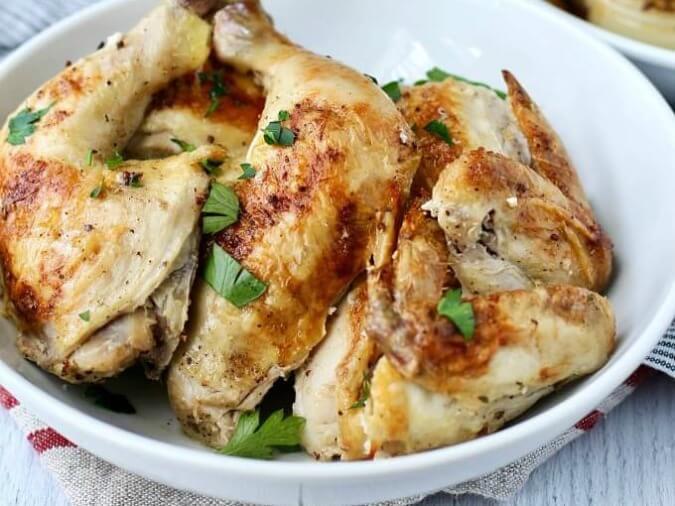 Sheet pan chicken in a bowl