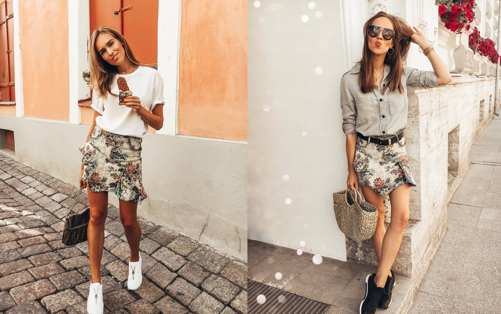 mini skirt sneakers summer outfit street style