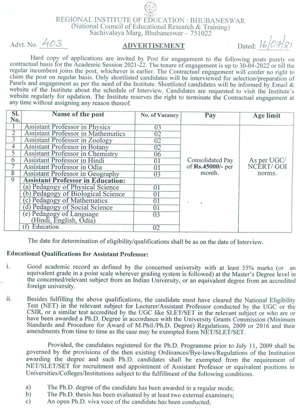 RIE Bhubaneswar Life Sciences Faculty Jobs