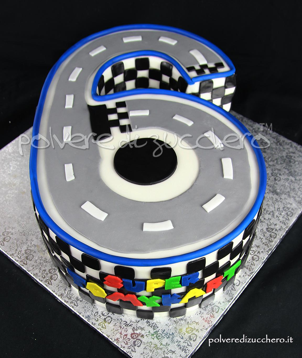 mario kart torta cake design pasta di zucchero torta a forma di numero 6 polvere di zucchero