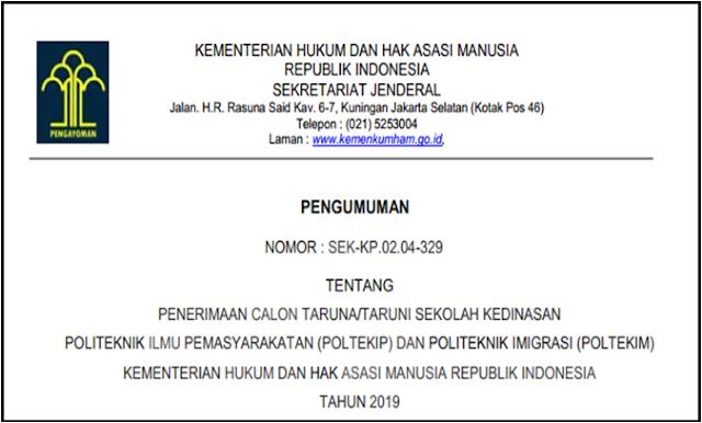 Jadwal Penerimaan Taruna/Taruni Sekolah Ikatan Dinas Kemenkum HAM 2019