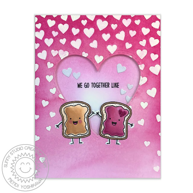 Sunny Studio Stamps: Breakfast Puns & Cascading Heart We Go Together like PB&J Card by Mendi Yoshikawa