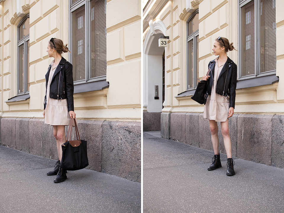 Scandinavian fashion blogger minimal outfit with beige smock dress - Skandinaavinen tyyli, muotiblogi, beige mekko, asuinspiraatio
