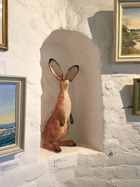 A ceramic hare in the gallery at the Naze Tower
