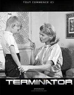 Cartel de la película terminator con una madre regañando a un niño