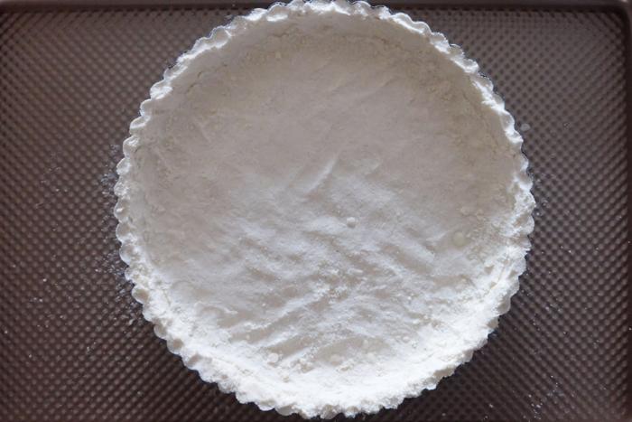 shortbread crust formed in tart pan ready to bake