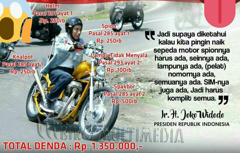 Motor Choper Jokowi Diduga Langgar 5 Pasal Uu Lalu Lintas Ini Total Dendanya Portal Islam