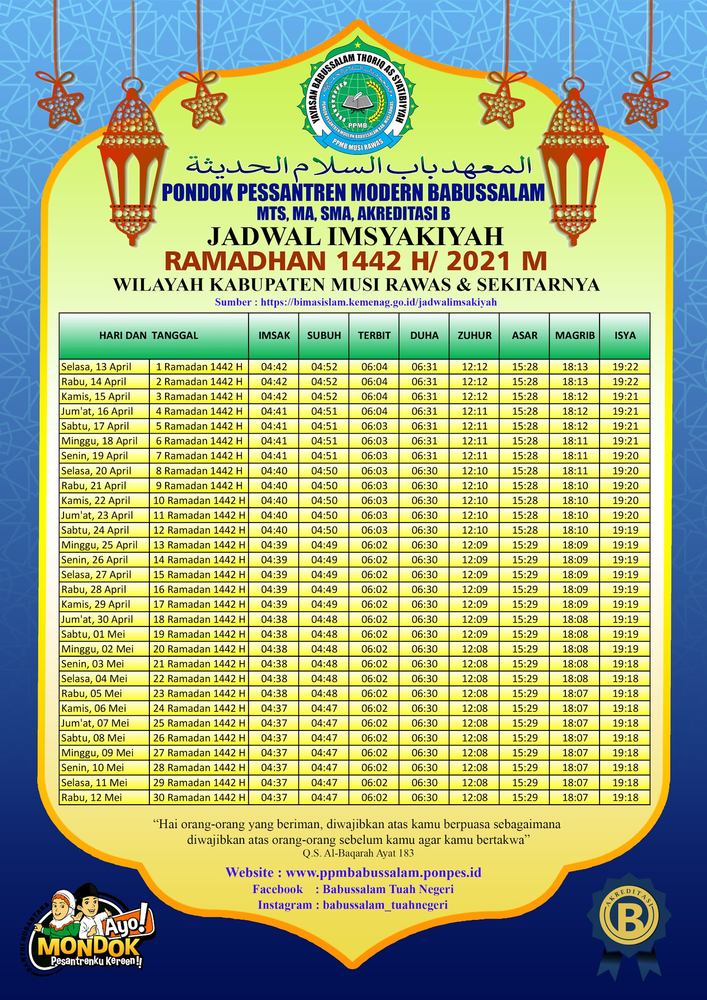 Jadwal Imsyakiyah Wilayah Kabupaten Musi Rawas dan Sekitarnya 2021