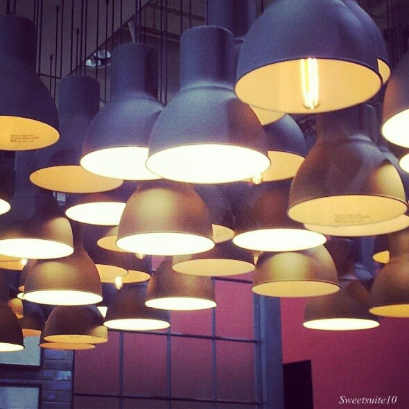grouping of Ikea hektar pendants