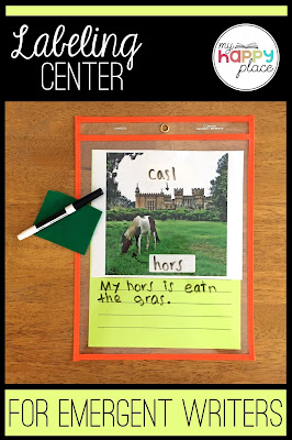 dry erase pocket, labeling picture, literacy center