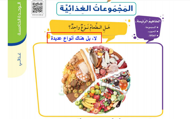 حل درس المجموعات الغذائية التربية الأسرية للصف الثالث ابتدائي