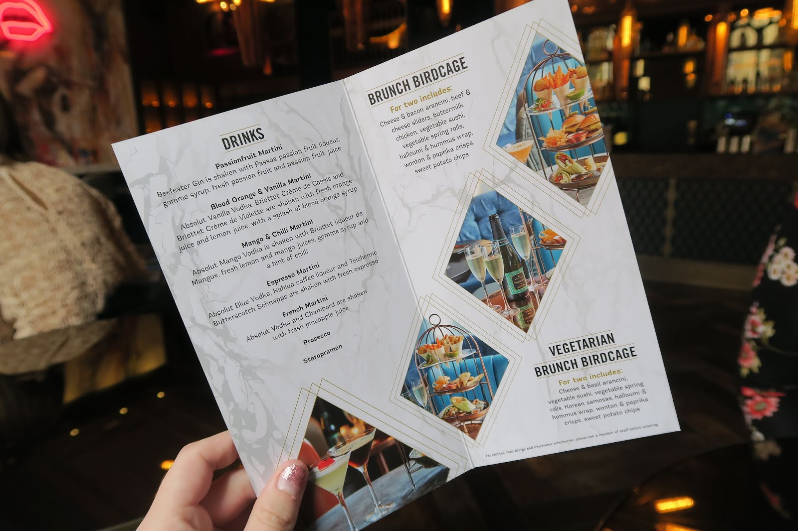 THE DIRTY MARTINI DRINKS MENU