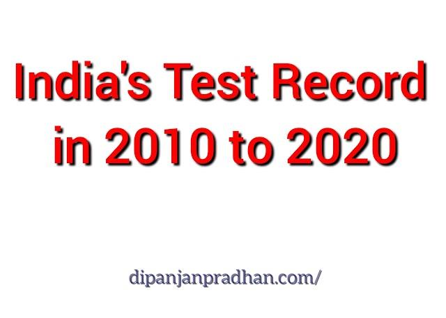 Vuodesta 2010 vuoteen 2020 Intian kaikkien koeottelujen ennätykset