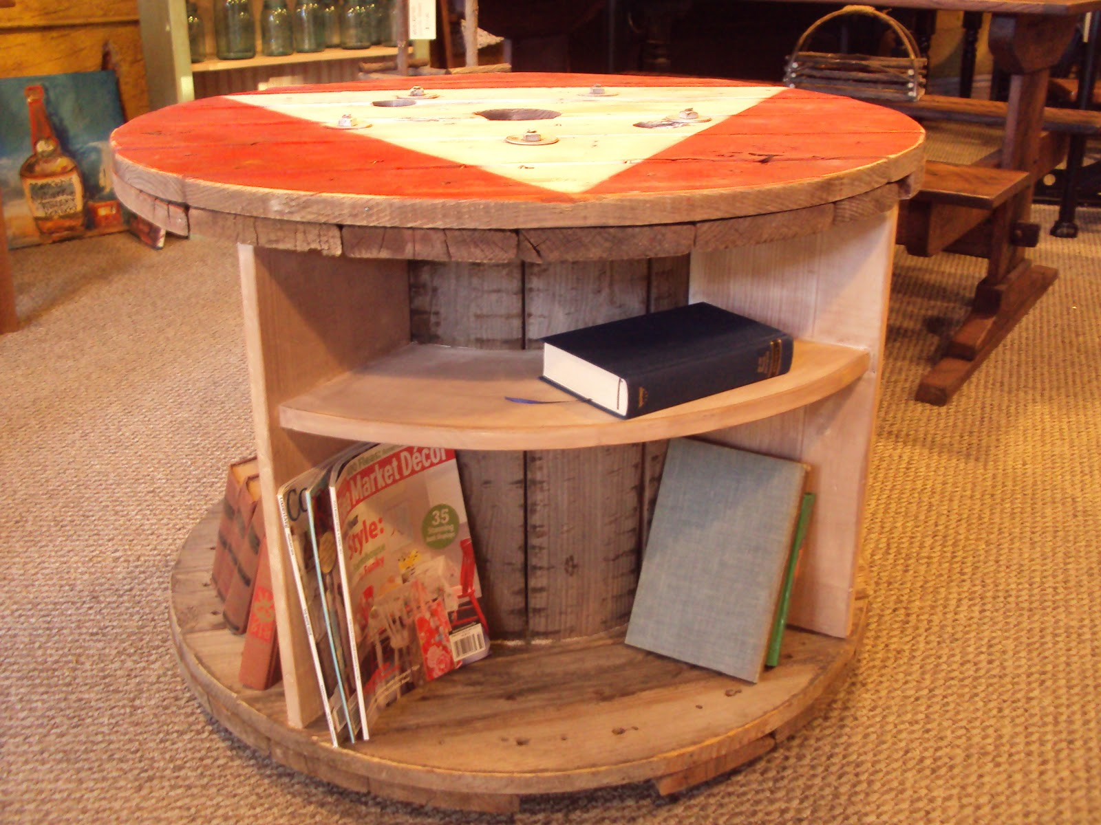 Primitive Bookcase Made From Reclaimed Electric Spool