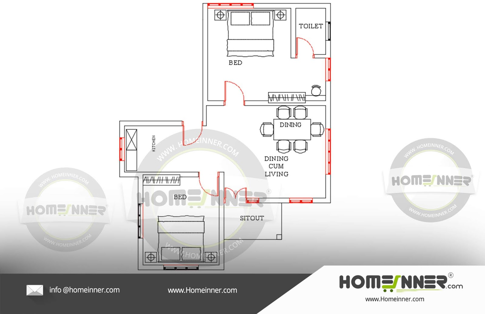Free house plan 700 sq ft 2 Bedroom Dining Kitchen