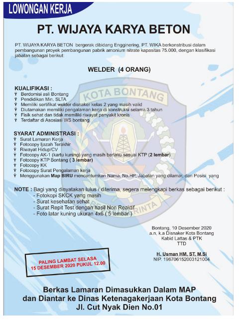 Lowongan Kerja SMA di PT Wijaya Karya Beton Desember 2020